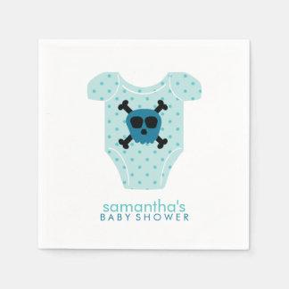Fiesta de bienvenida al bebé azul del cráneo y del servilletas de papel