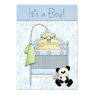 Fiesta de bienvenida al bebé azul del damasco del invitación 12,7 x 17,8 cm