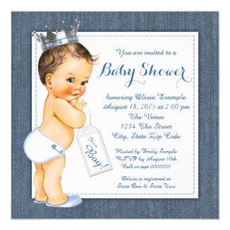 """Fiesta de bienvenida al bebé azul del dril de invitación 5.25"""" x 5.25"""""""