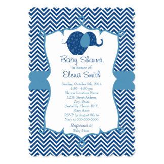 """Fiesta de bienvenida al bebé azul del elefante de invitación 5"""" x 7"""""""