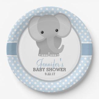 Fiesta de bienvenida al bebé (azul) del elefante plato de papel de 9 pulgadas