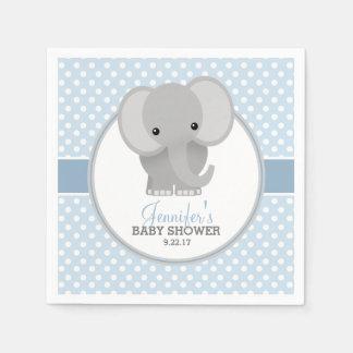Fiesta de bienvenida al bebé (azul) del elefante servilleta de papel