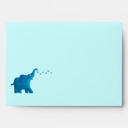 fiesta de bienvenida al bebé azul del elefante sobres
