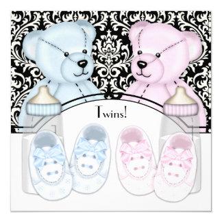Fiesta de bienvenida al bebé azul del gemelo del invitación 13,3 cm x 13,3cm