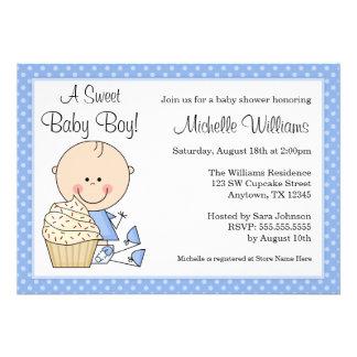 Fiesta de bienvenida al bebé azul del muchacho del
