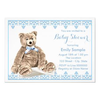 Fiesta de bienvenida al bebé azul del oso de anuncio personalizado