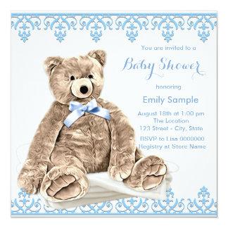 """Fiesta de bienvenida al bebé azul del oso de invitación 5.25"""" x 5.25"""""""