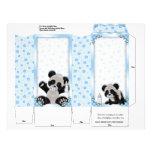 Fiesta de bienvenida al bebé azul del oso de panda tarjeton