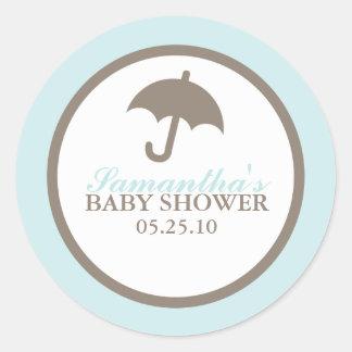 Fiesta de bienvenida al bebé azul del paraguas pegatina redonda