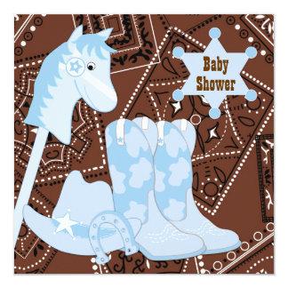 """Fiesta de bienvenida al bebé azul del vaquero de invitación 5.25"""" x 5.25"""""""