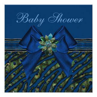 Fiesta de bienvenida al bebé azul elegante del invitacion personalizada