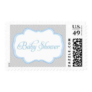 Fiesta de bienvenida al bebé azul gris del marco sello postal
