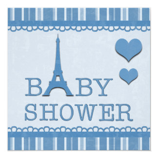 """Fiesta de bienvenida al bebé azul linda de la invitación 5.25"""" x 5.25"""""""
