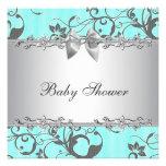 Fiesta de bienvenida al bebé azul y gris del trull comunicados personalizados