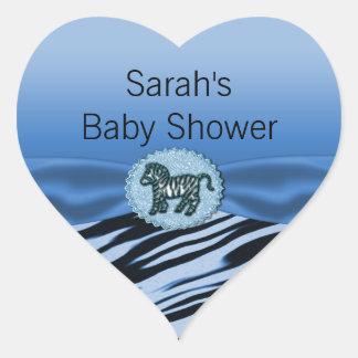 Fiesta de bienvenida al bebé azul y negra del pegatina en forma de corazón