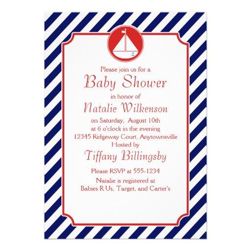 Fiesta de bienvenida al bebé azul y roja del veler invitación personalizada