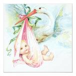 Fiesta de bienvenida al bebé azul y rosada del invitación personalizada
