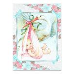 Fiesta de bienvenida al bebé azul y rosada del invitacion personalizada