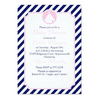 Fiesta de bienvenida al bebé azul y rosada del invitación 12,7 x 17,8 cm