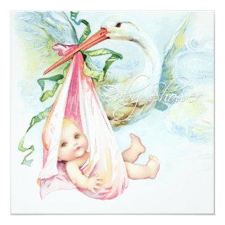 """Fiesta de bienvenida al bebé azul y rosada del invitación 5.25"""" x 5.25"""""""