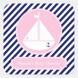 Fiesta de bienvenida al bebé azul y rosada del calcomanías cuadradas personalizadas