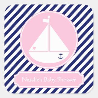 Fiesta de bienvenida al bebé azul y rosada del pegatina cuadrada