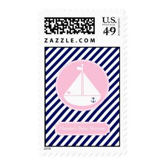 Fiesta de bienvenida al bebé azul y rosada del sello