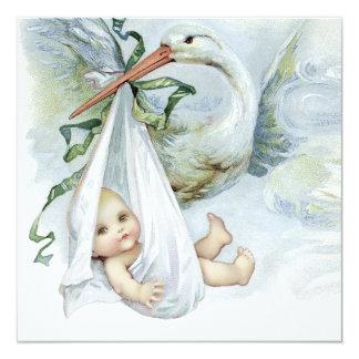 """Fiesta de bienvenida al bebé azul y verde de la invitación 5.25"""" x 5.25"""""""