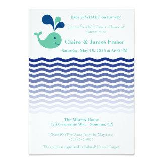 """Fiesta de bienvenida al bebé azul y verde de la invitación 5"""" x 7"""""""
