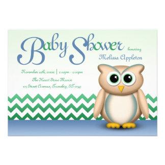 Fiesta de bienvenida al bebé azul y verde del búho comunicado