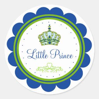 Fiesta de bienvenida al bebé azul y verde etiqueta redonda
