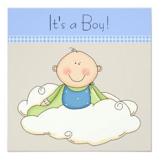 """Fiesta de bienvenida al bebé beige azul de la nube invitación 5.25"""" x 5.25"""""""