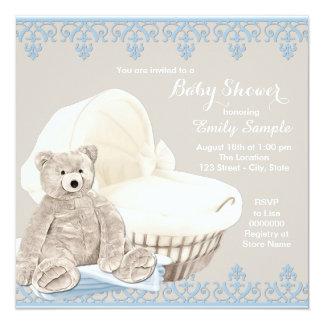 Fiesta de bienvenida al bebé beige y azul del oso invitación personalizada