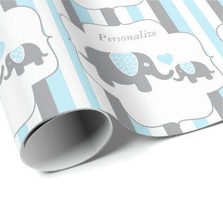Fiesta de bienvenida al bebé blanca, azul y gris papel de regalo