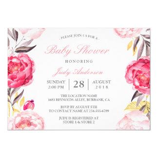 """Fiesta de bienvenida al bebé botánica floral de la invitación 5"""" x 7"""""""