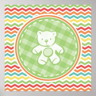 Fiesta de bienvenida al bebé brillante del oso de poster