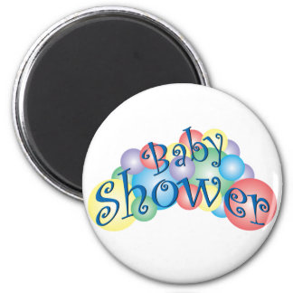 Fiesta de bienvenida al bebé burbujeante imán redondo 5 cm