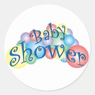 Fiesta de bienvenida al bebé burbujeante pegatina redonda