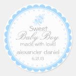 Fiesta de bienvenida al bebé caprichosa azul pegatinas