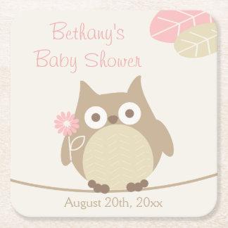 Fiesta de bienvenida al bebé caprichosa del chica posavasos personalizable cuadrado