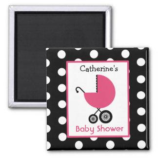 Fiesta de bienvenida al bebé - carro y lunar rosad iman de nevera
