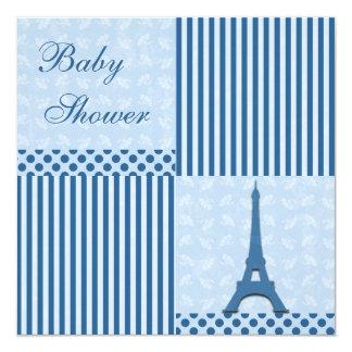 """Fiesta de bienvenida al bebé con clase del azul de invitación 5.25"""" x 5.25"""""""
