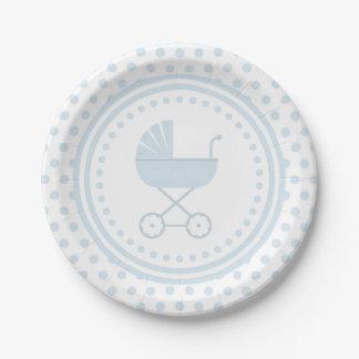Fiesta de bienvenida al bebé con errores azul plato de papel de 7 pulgadas