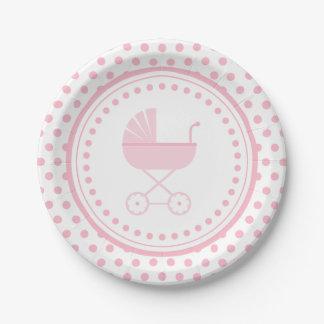 Fiesta de bienvenida al bebé con errores rosada plato de papel de 7 pulgadas
