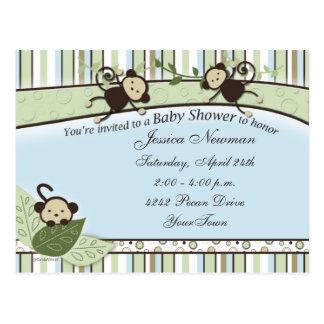 Fiesta de bienvenida al bebé con los monos, las postal