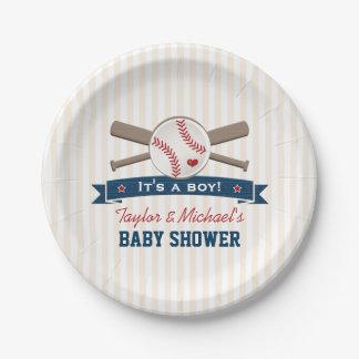 Fiesta de bienvenida al bebé cruzada del béisbol plato de papel de 7 pulgadas