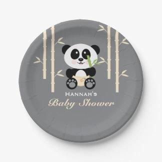 Fiesta de bienvenida al bebé de bambú amarilla de plato de papel de 7 pulgadas