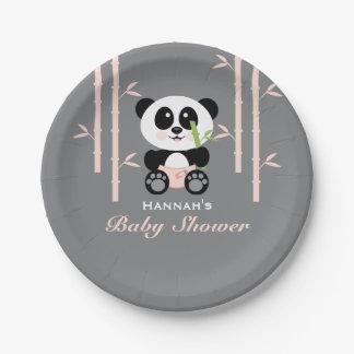 Fiesta de bienvenida al bebé de bambú rosada de la plato de papel de 7 pulgadas