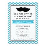 Fiesta de bienvenida al bebé de Chevron del bigote Invitación 12,7 X 17,8 Cm