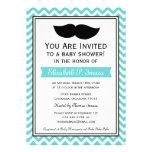 Fiesta de bienvenida al bebé de Chevron del bigote Anuncio Personalizado